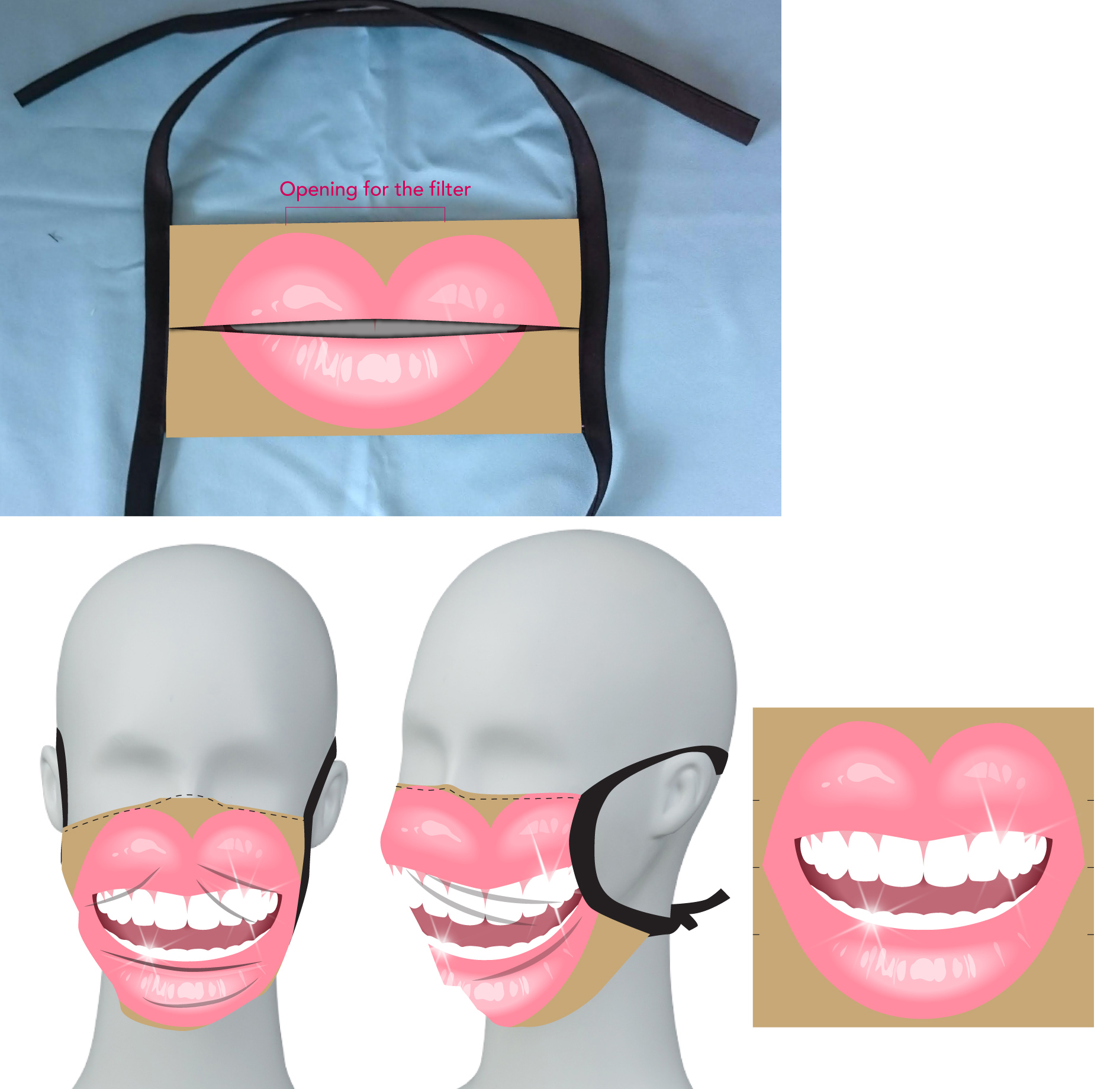 Non-medical Sublimated 2 layer SMILE Face Mask