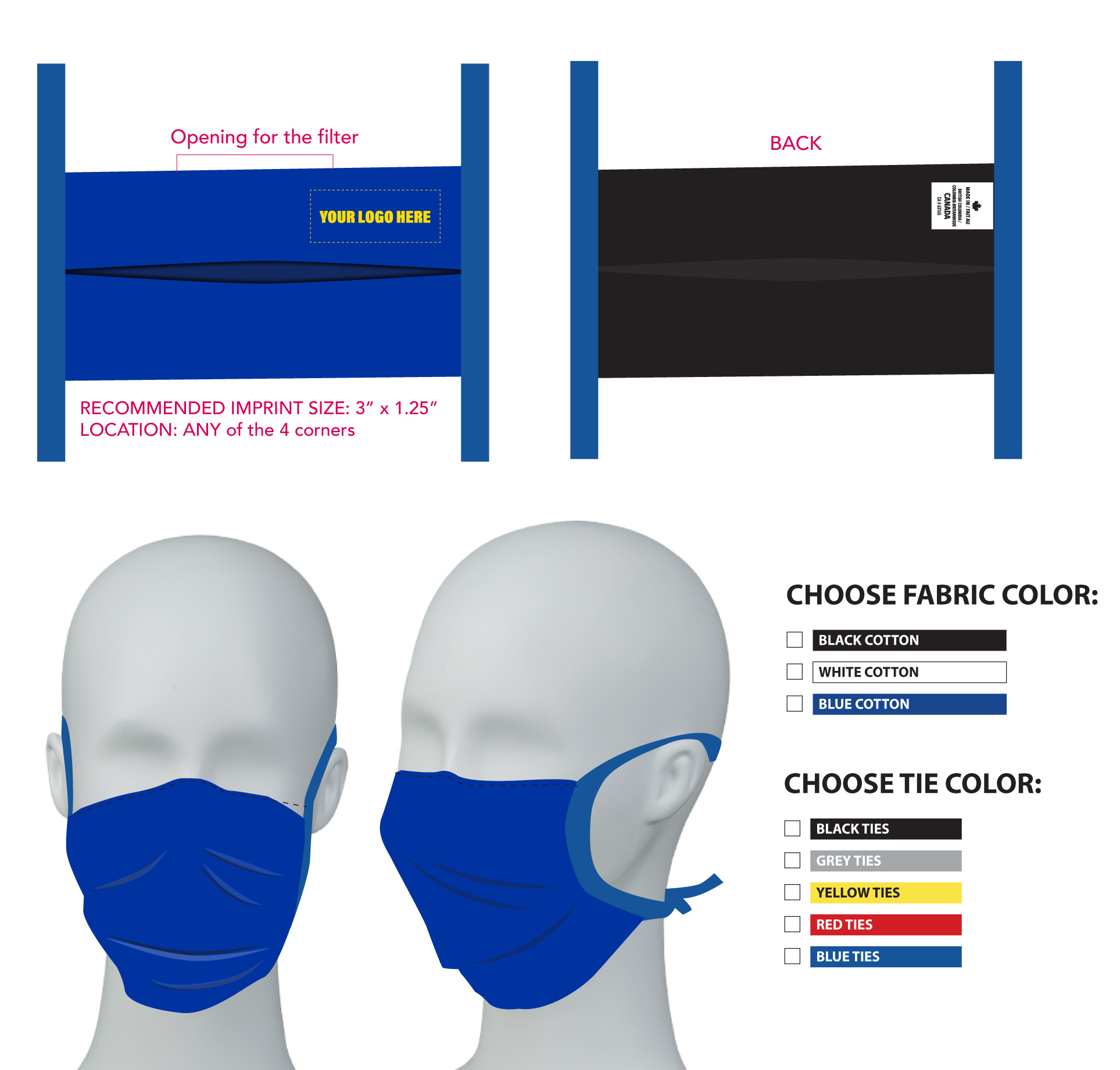 Non-medical 2 layer Cotton Face Mask with ties